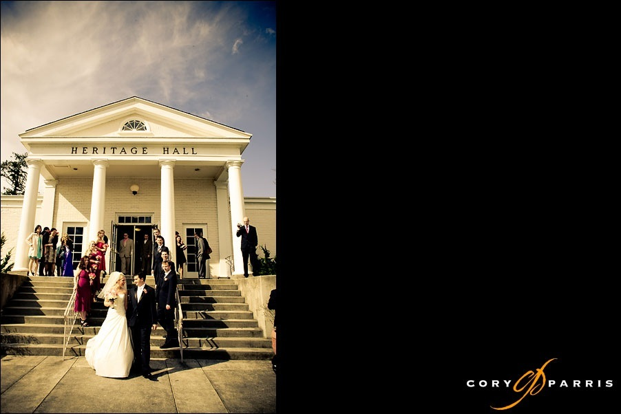 bride and groom walking out of heritage hall after their wedding by seattle wedding photographer cory parris