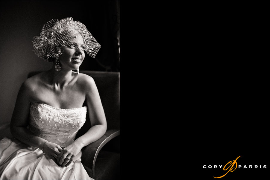 bride with birdcage veil taken at hotel bellevue formerly bellevue club by seattle wedding photographer cory parris