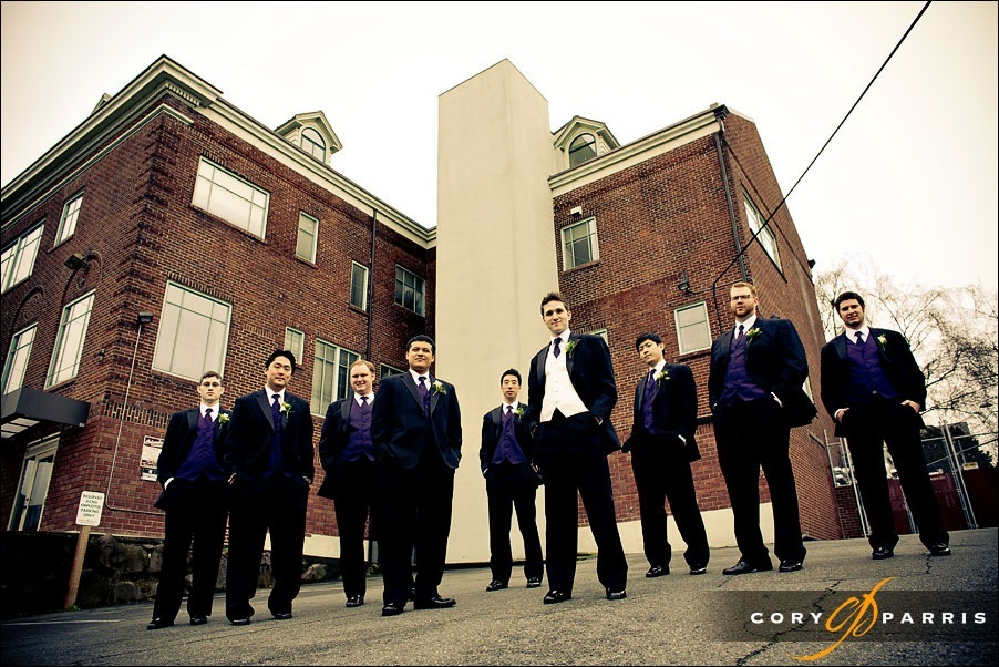 groom and groomsmen portrait by seattle wedding photographer cory parris