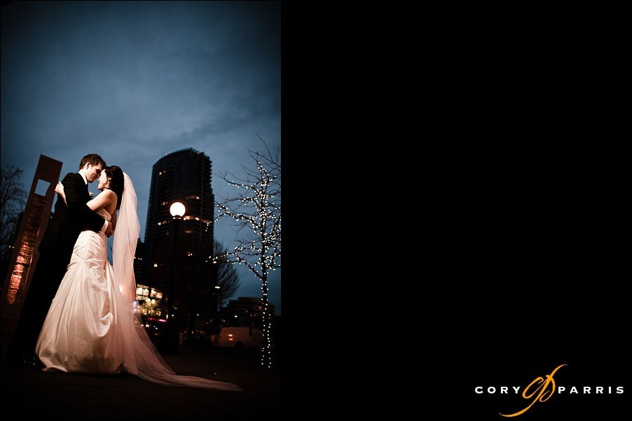 bride and groom under the night sky by bellevue wedding photographer cory parris