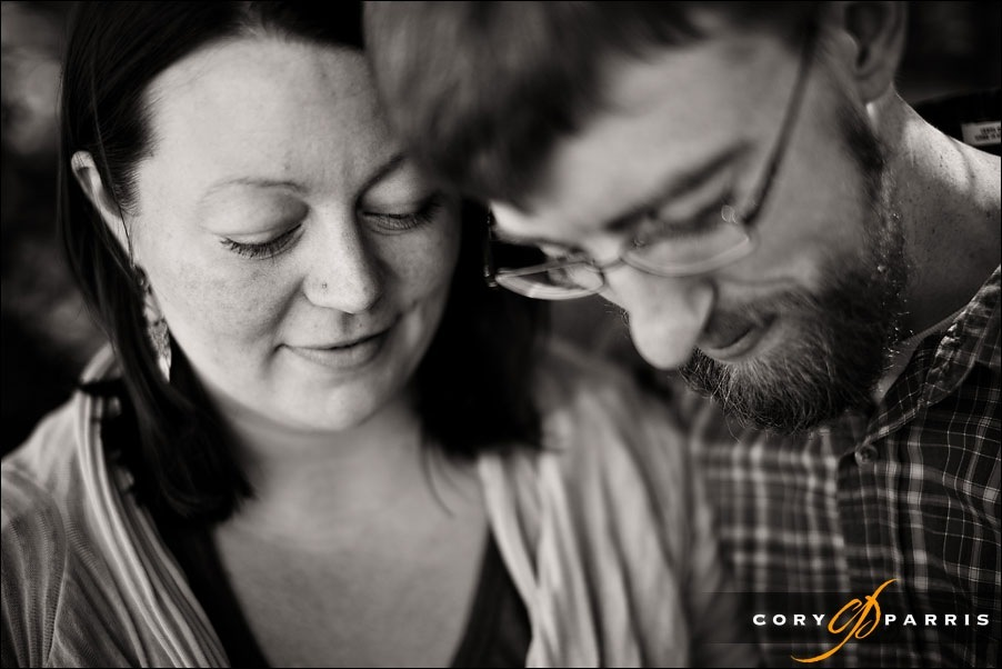 moody engagement portrait in black and white