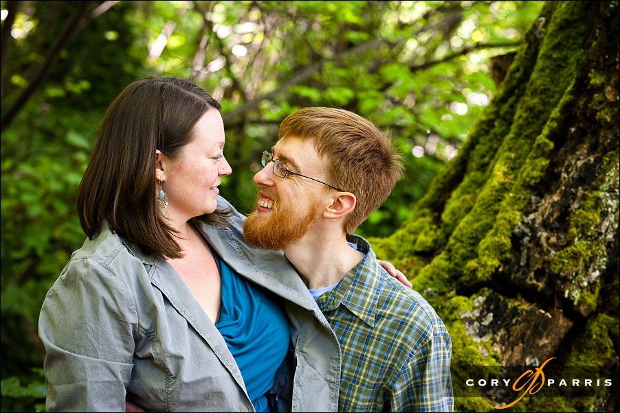 engagement portrait in the forest