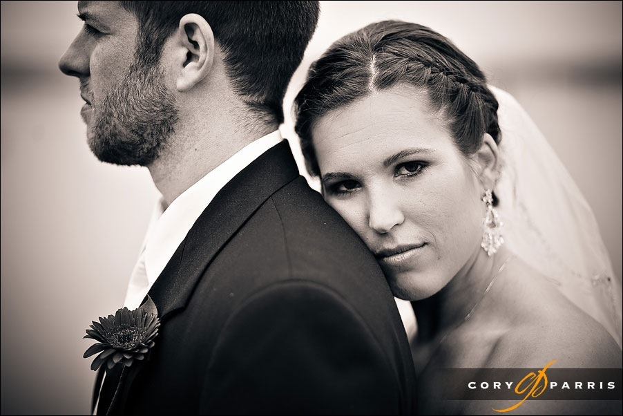 bride and groom wedding portrait at the everett waterfront by seattle wedding photographer cory parris