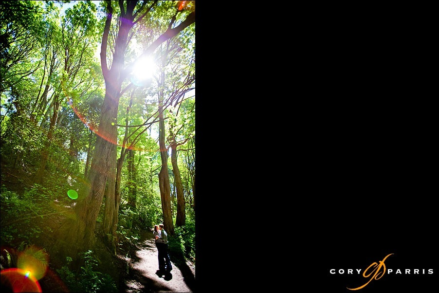 color enagagement portrait in the woods with lens flare