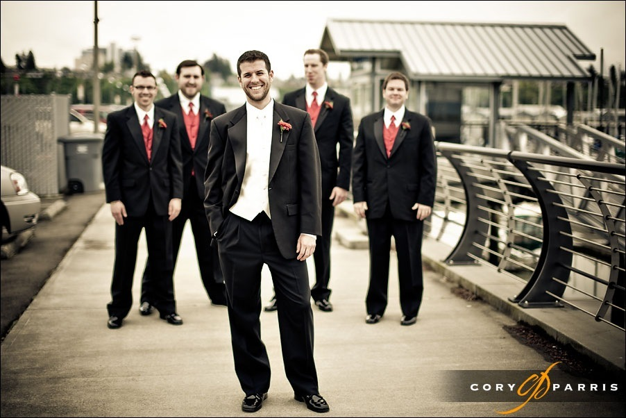 groomsmen portrait by seattle wedding photographer cory parris