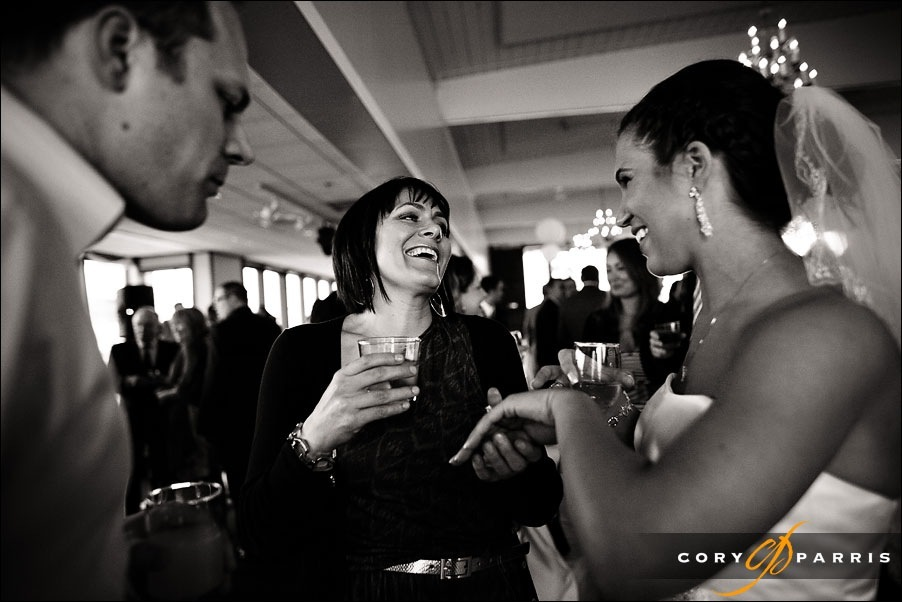 bride showing ring to guest at everett yacht club