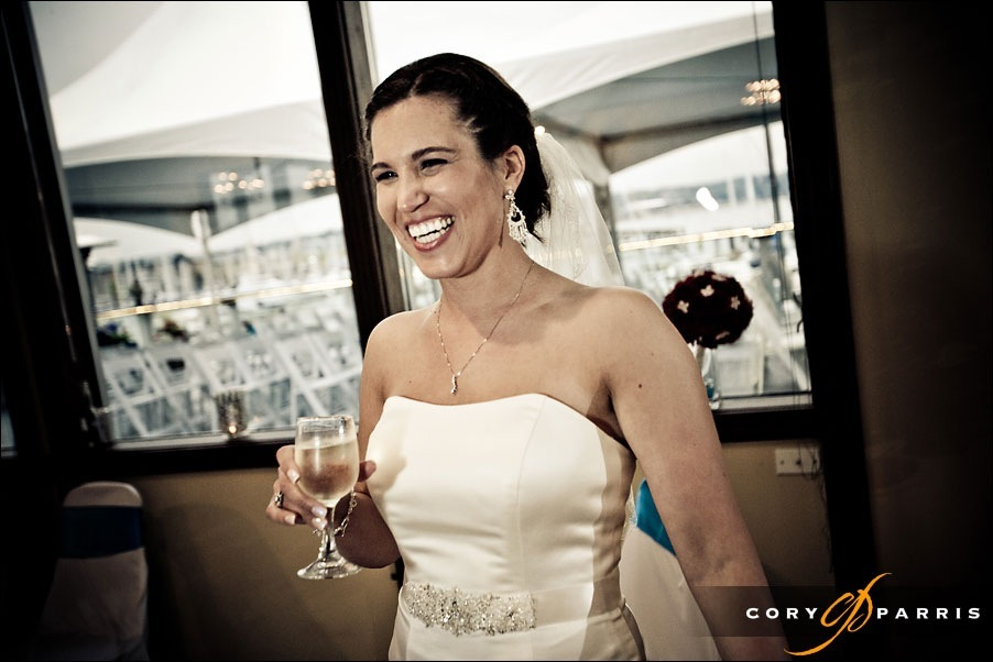 bride laughing at wedding in everett