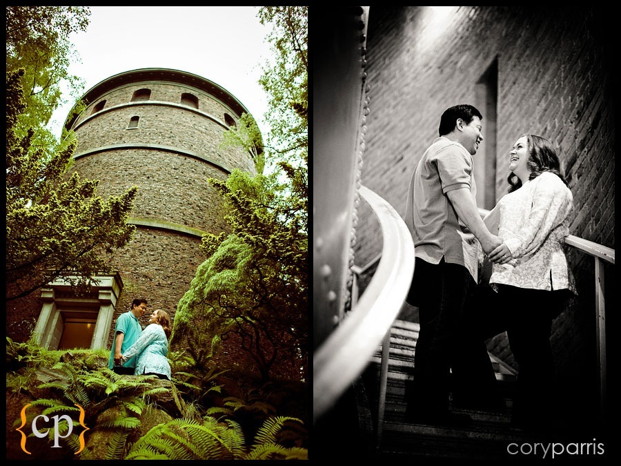 engagement portraits by seattle wedding photographer cory parris at the watertower at volunteer park