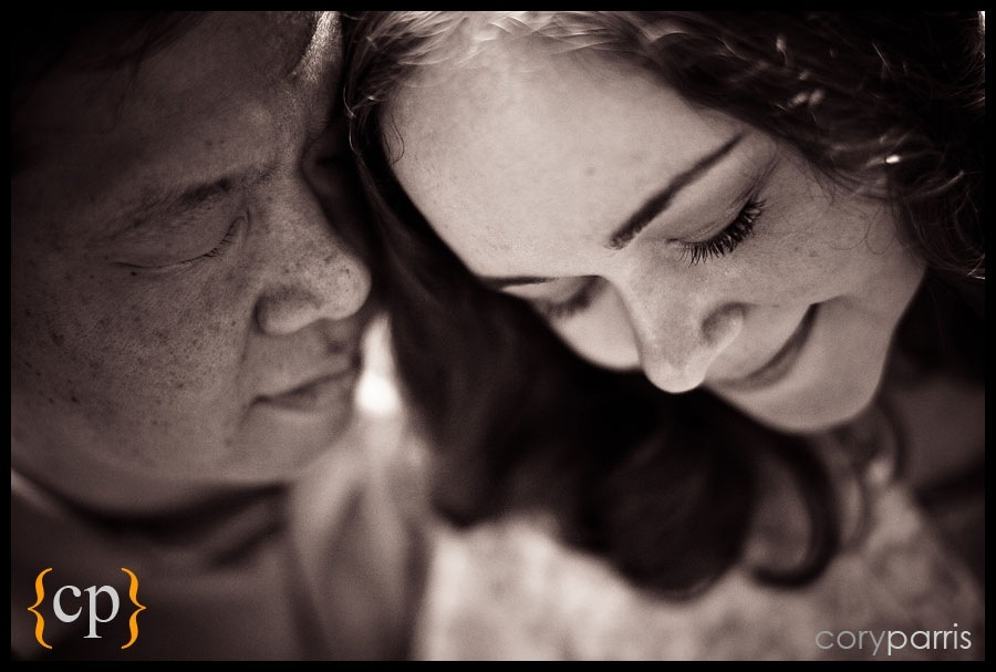 moody b&w engagement portrait by seattle wedding photographer cory parris