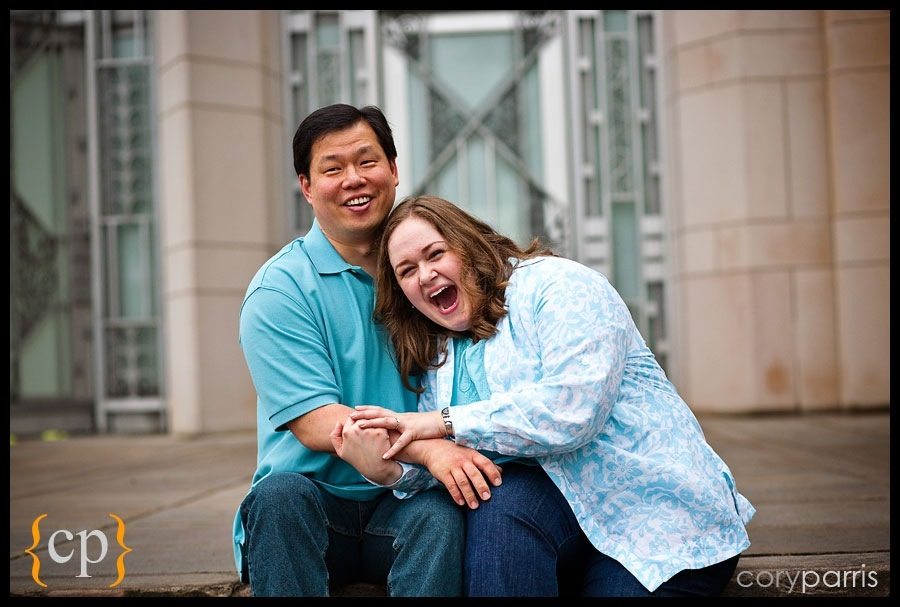 engaged couple laughting at the Seattle Asian Art Museum