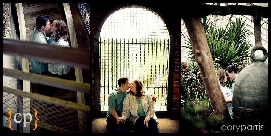 triptych of engagement photos at volunteer park by seattle wedding photographer cory parris