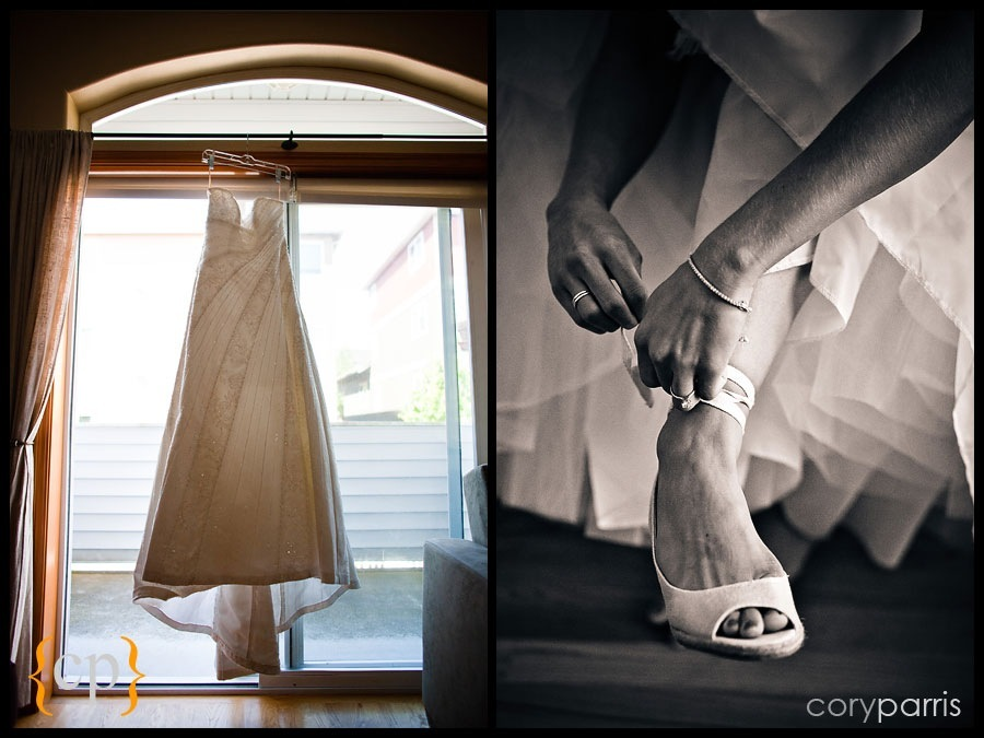 wedding dress and shoes by seattle wedding photographer cory parris