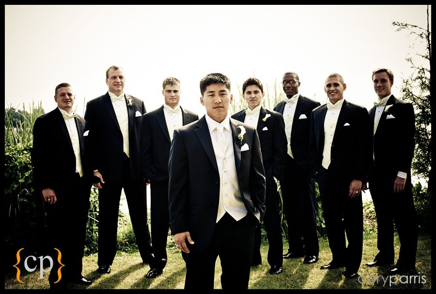 groom and groomsmen at shilshole bay beach club in seattle