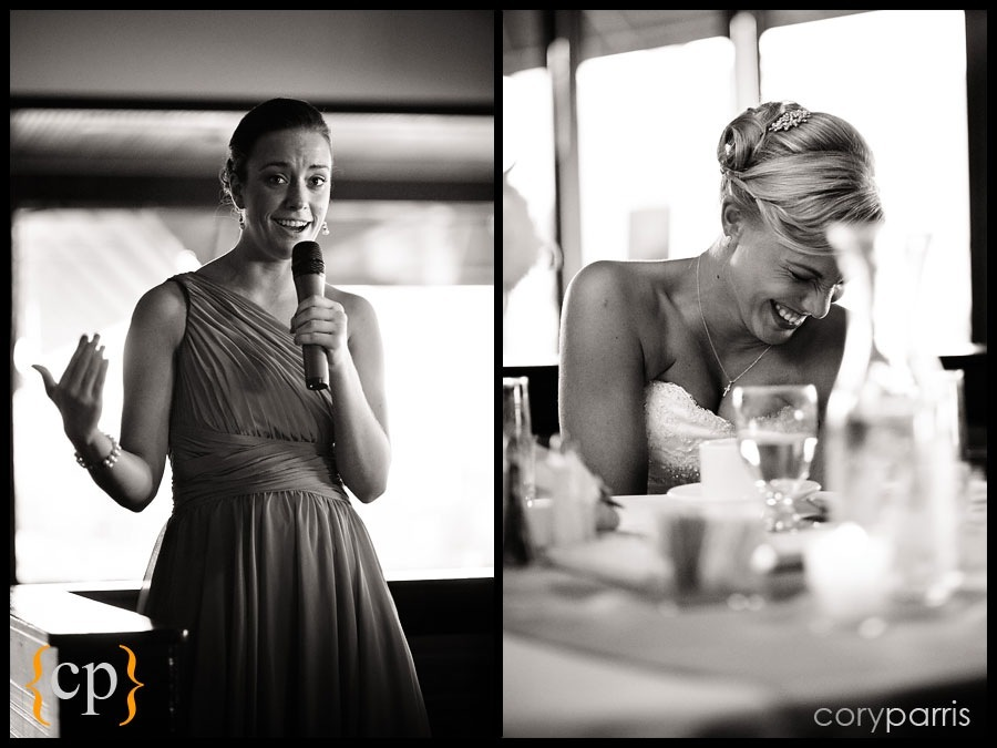 bridesmaid and bride during the toast by seattle wedding photojournalist cory parris