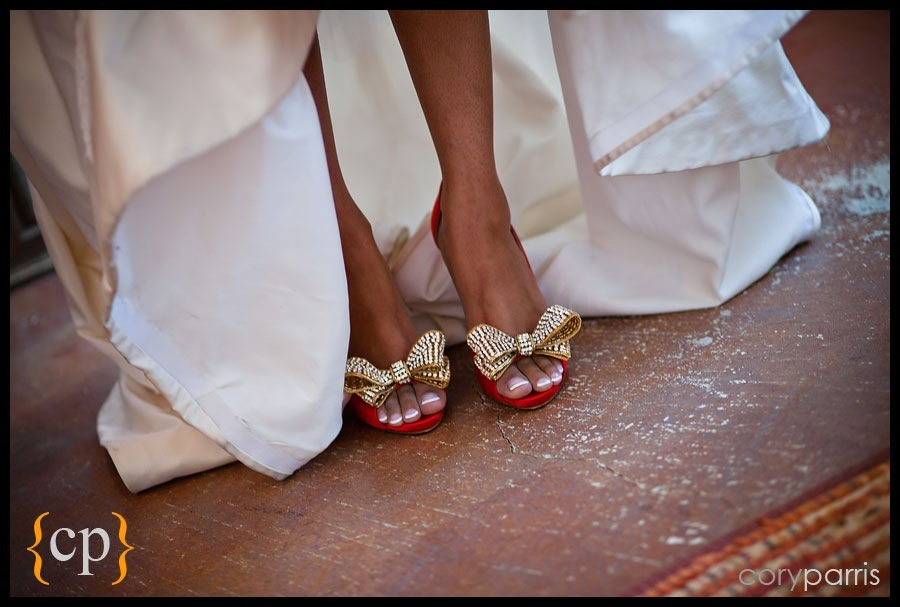 red valentino wedding shoes with crystal set gold bows