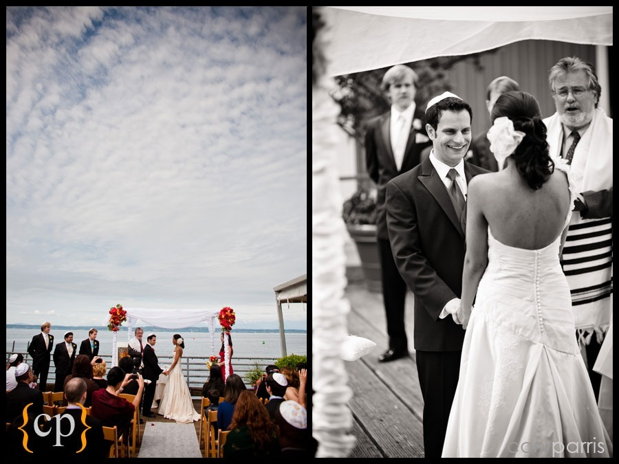 wedding on the deck at ray's boathouse overlooking puget sound