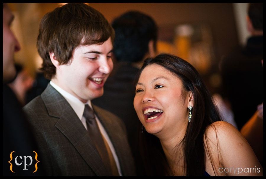 laughing guest at a seattle wedding
