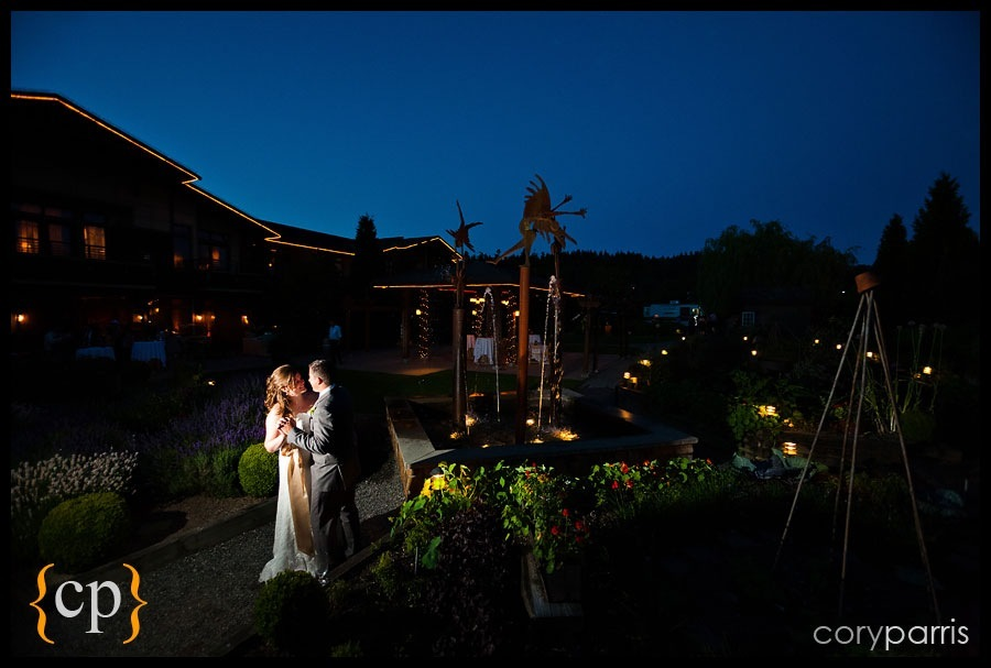 bride and groom dancing in the garden at willows lodge