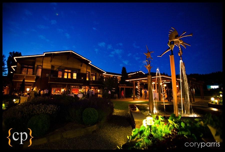 willows lodge at night