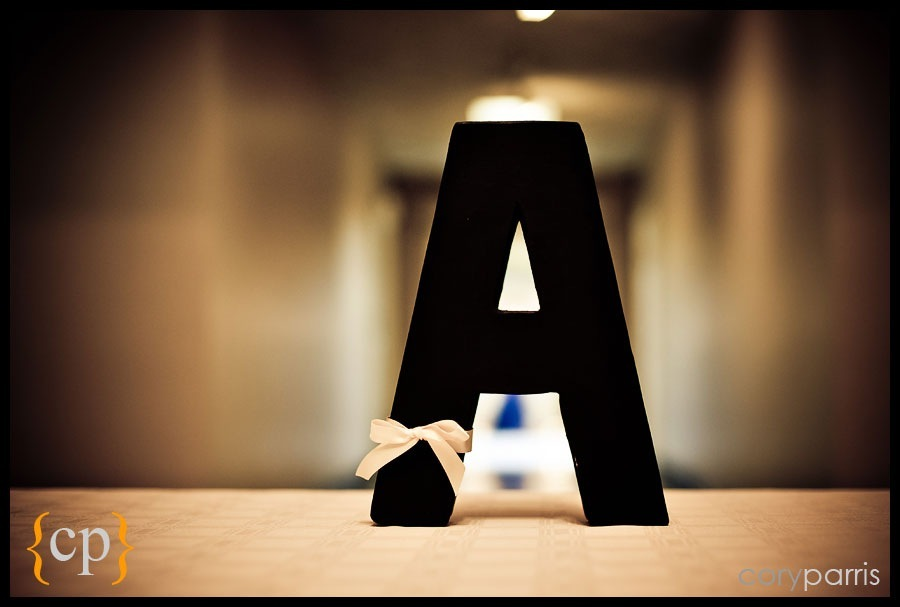 the letter a at a wedding
