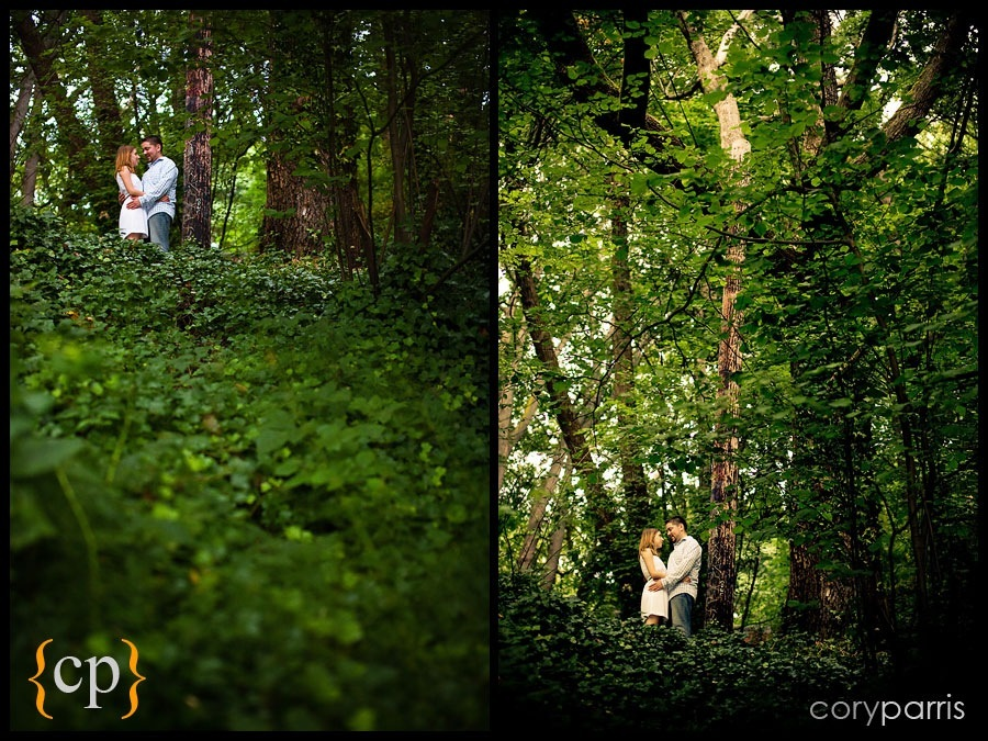 engagement portraits in the woods by seattle portrait photographer cory parris