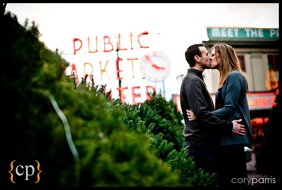 Seattle engagement portrait at Pike Place Market at Christmas time
