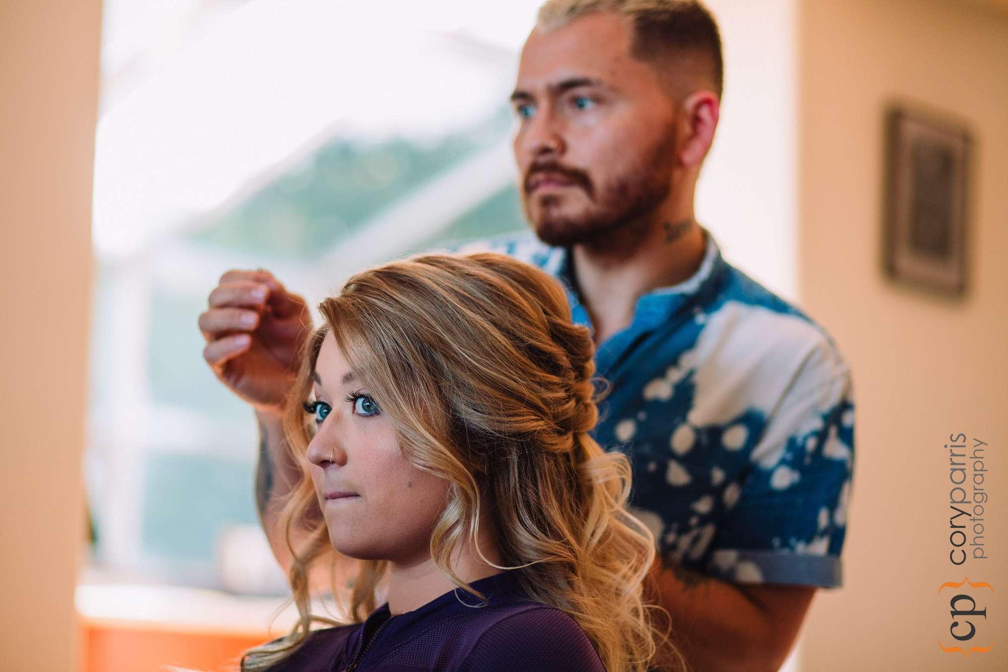 pensive bride getting ready