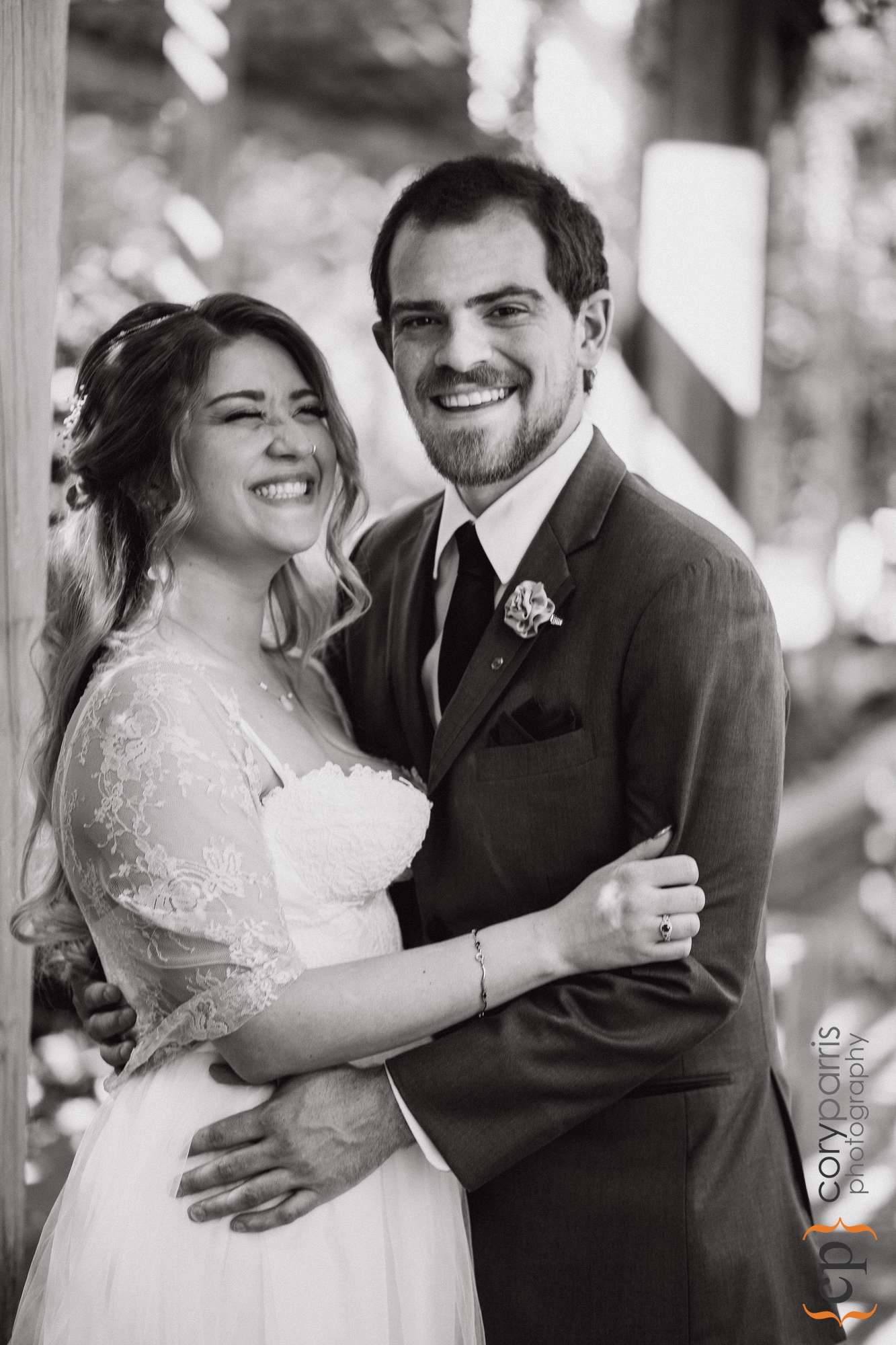 laughing wedding couple seattle
