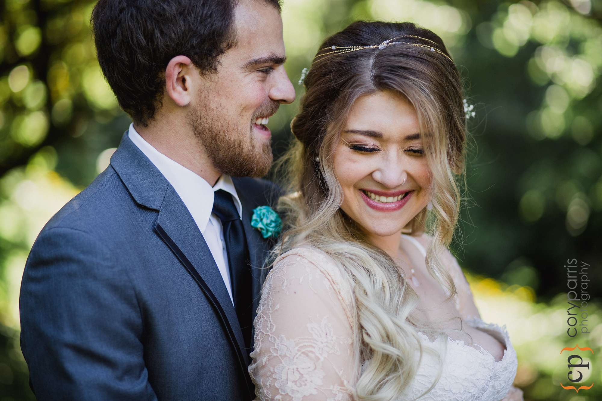 bride and groom laughing portrait seattle