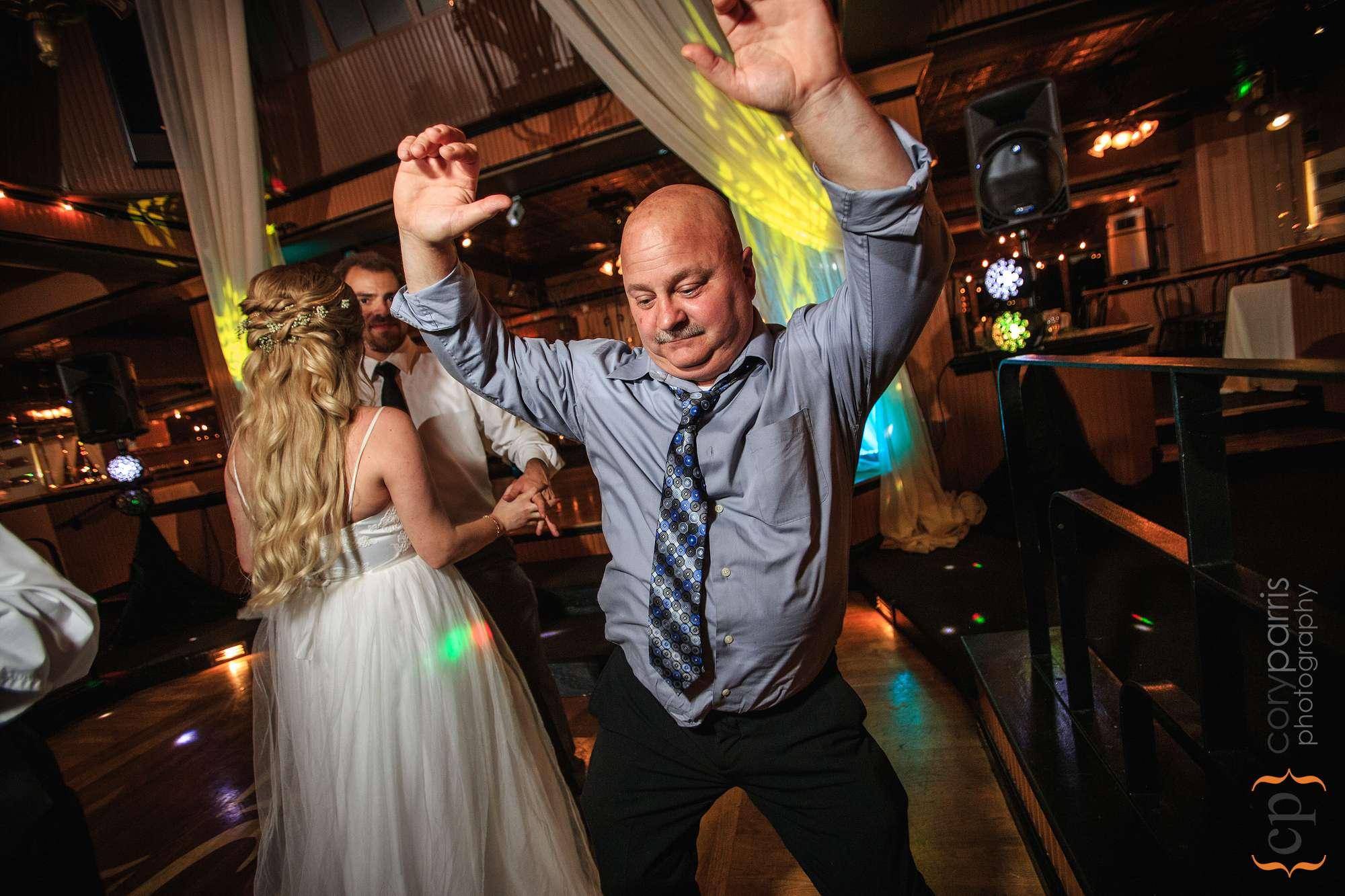 wedding guest dancing lake union cafe