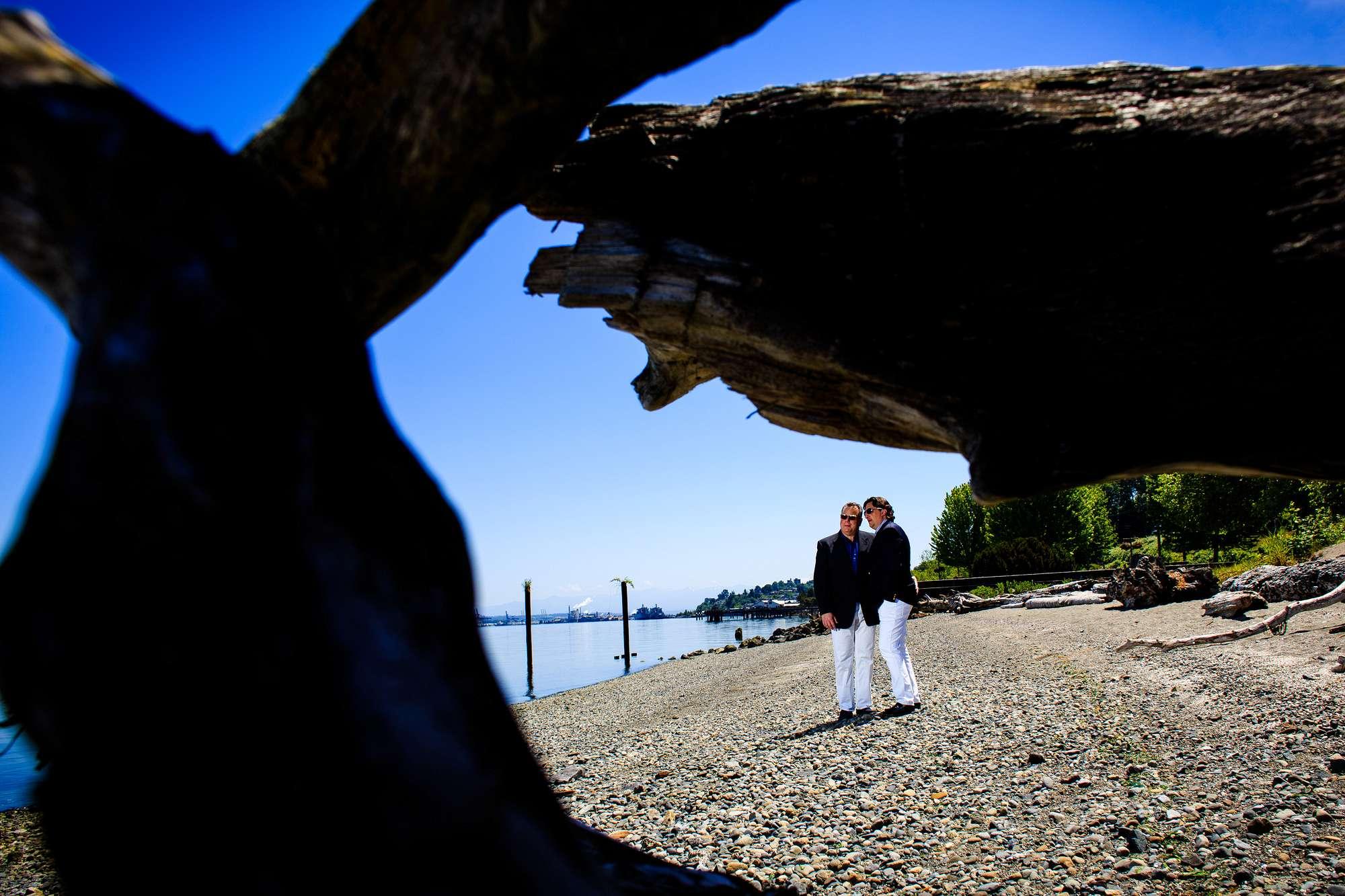 beach tacoma engagement couple