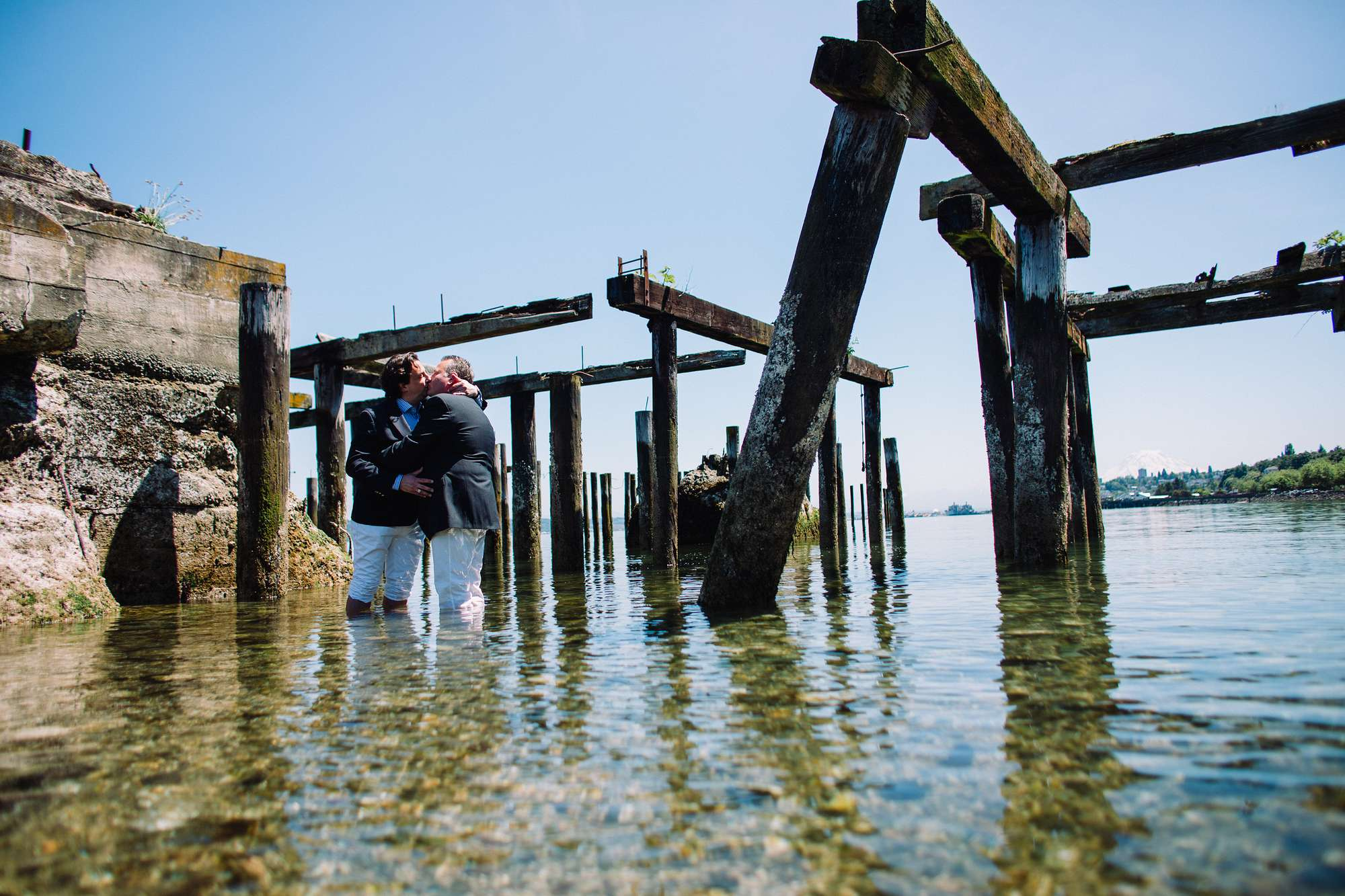 For this one, all three of us were standing in the incredibly cold water. The crushed shells and barnacles were sharp! I really wanted to figure out a way to use the remnants of the ancient dock. Very fun!