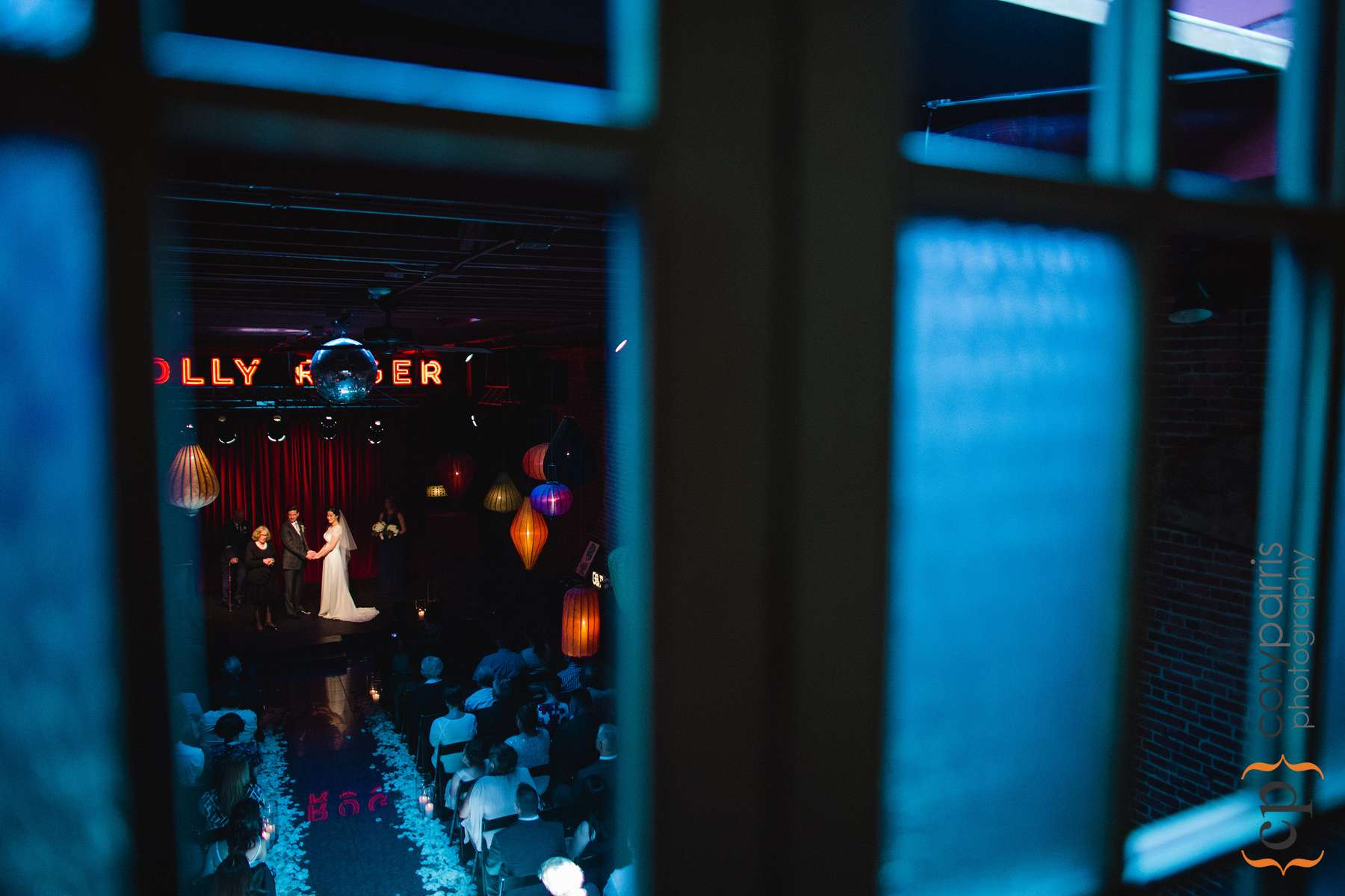 I took this photo during the wedding ceremony through the windows in the bridal loft.