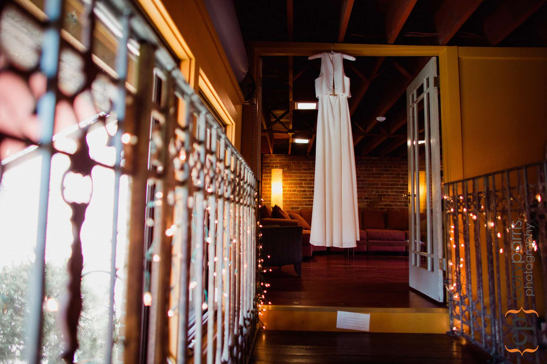 Dress hanging in the very cool bridal room at the Georgetown Ballroom.