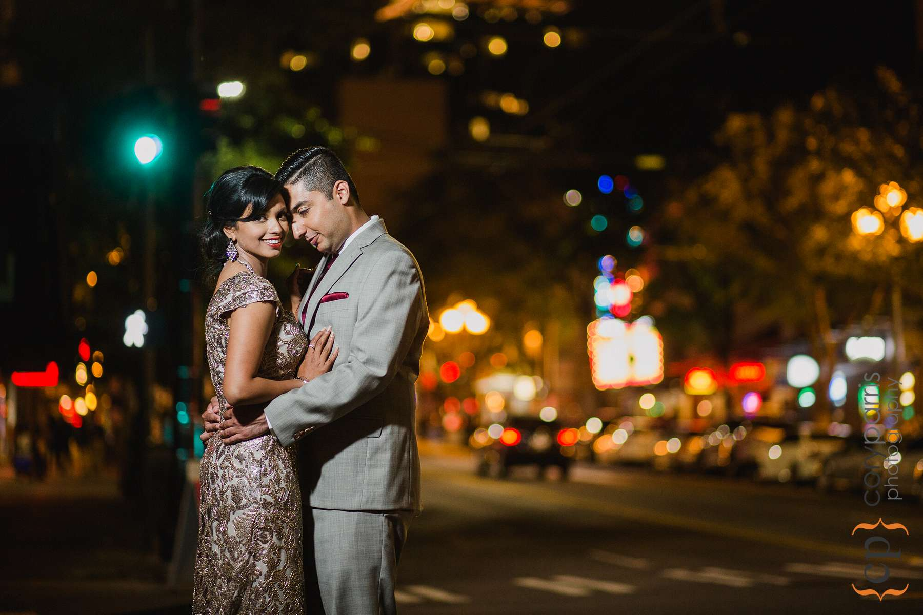 Farah and Alam portrait on the streets of Seattle outside the Four Seasons.