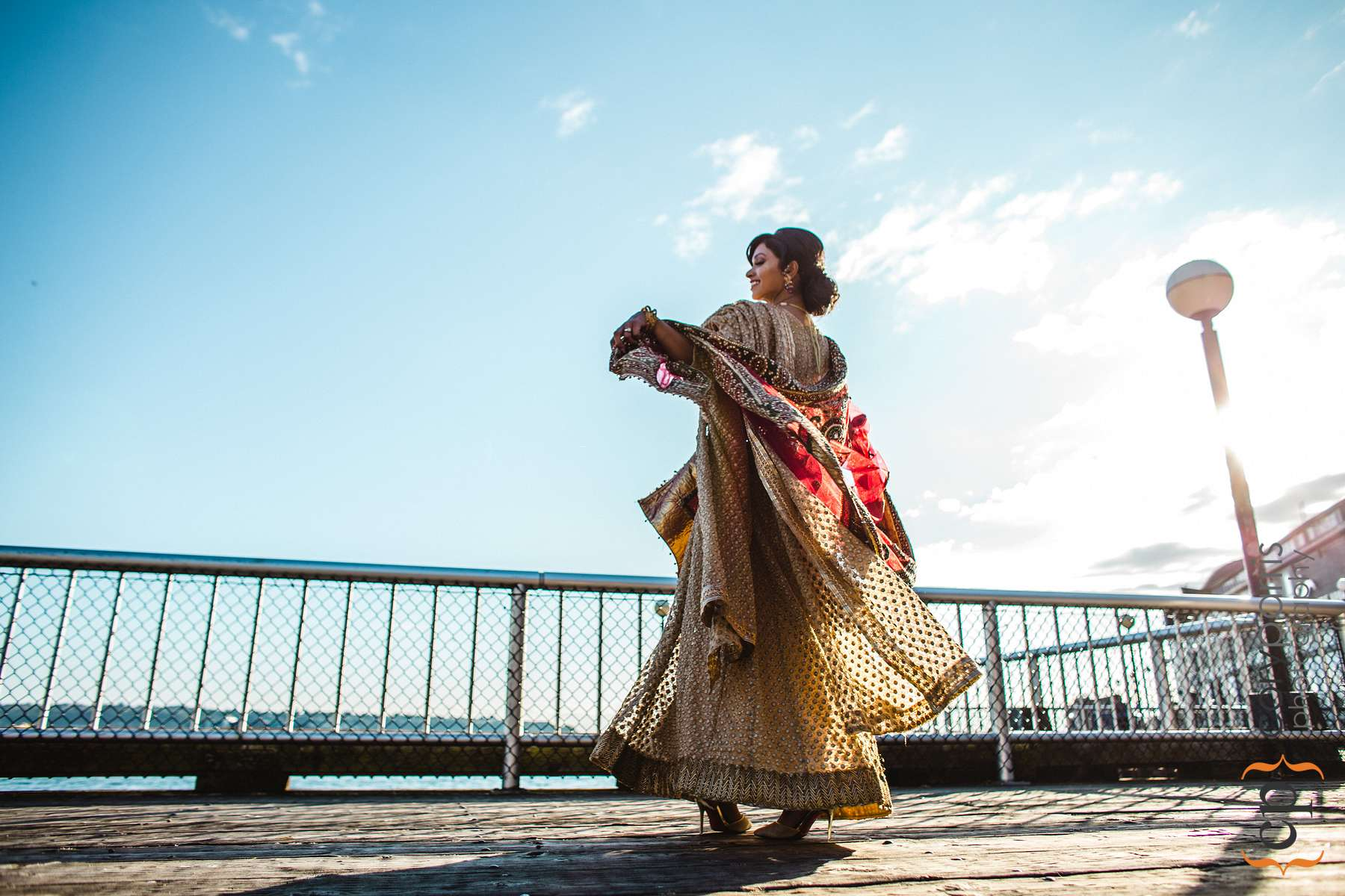 Indian bride spinning dress