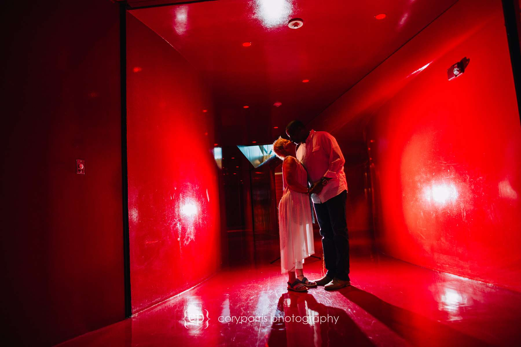 Inside the red room at the Seattle Public Library