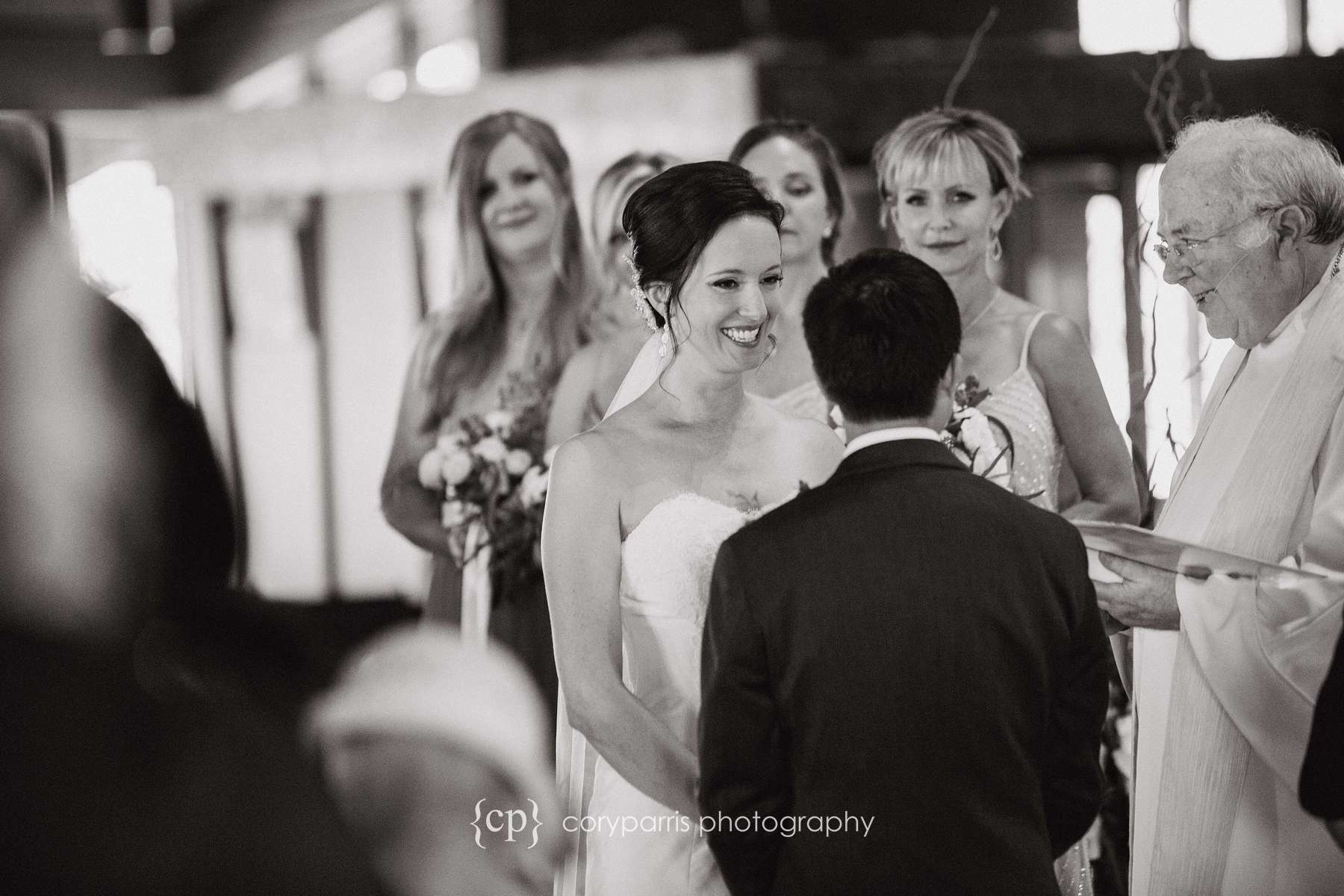 Angie looking at Vinh during the wedding ceremony.