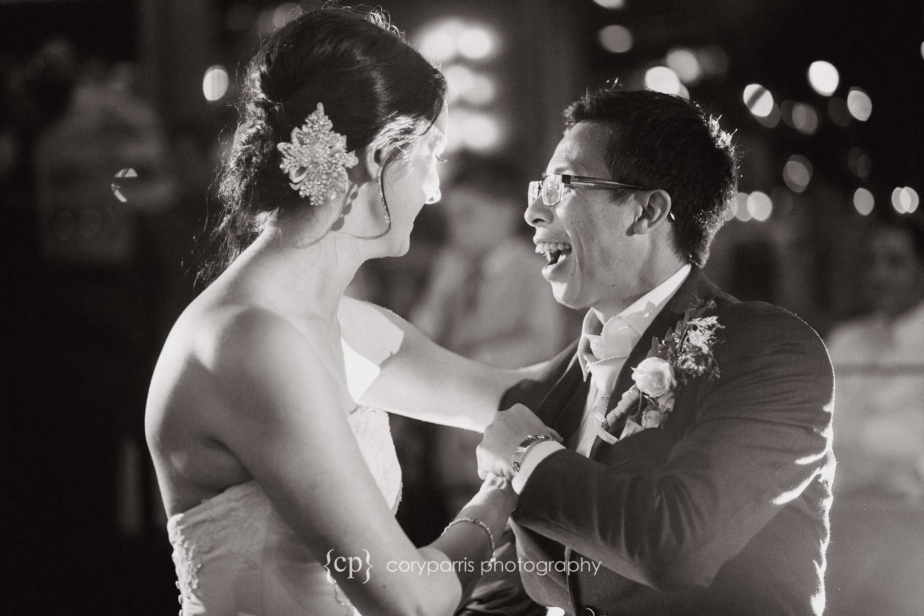 Vinh laughing during their first dance.