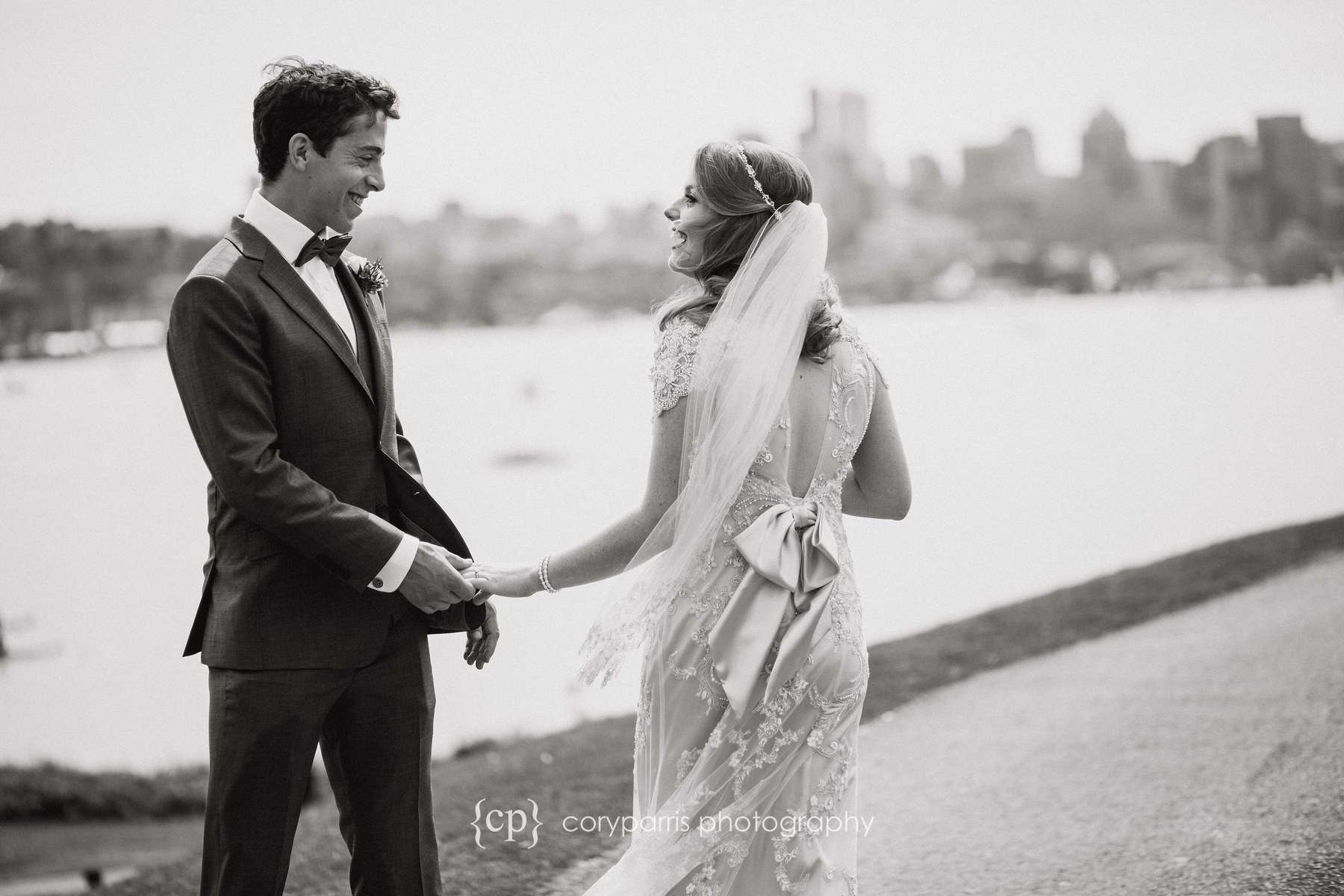 Natalie and David during their first look at Gas Works Park in Seattle.