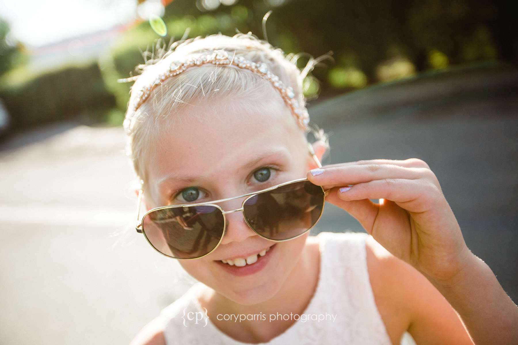 Flower girl with sunglasses Seattle wedding photography