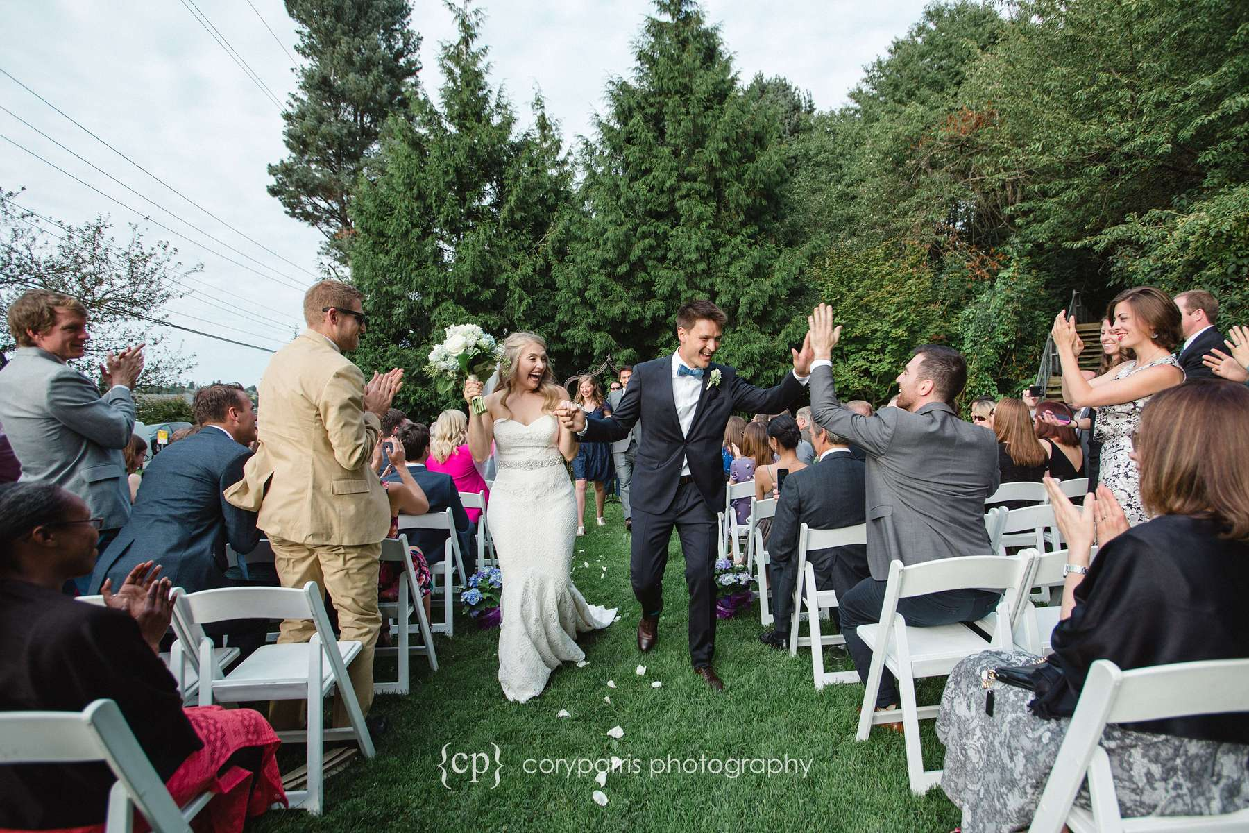 High fives at a Seattle wedding
