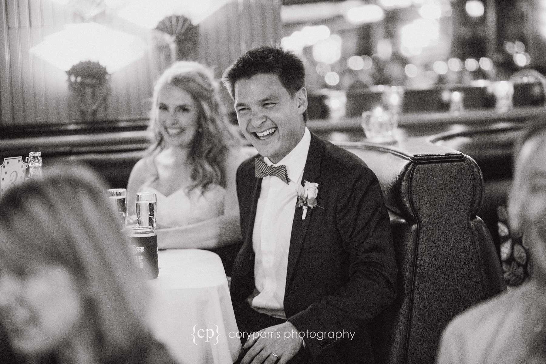 Wedding photojournalism Lake Union Cafe reception