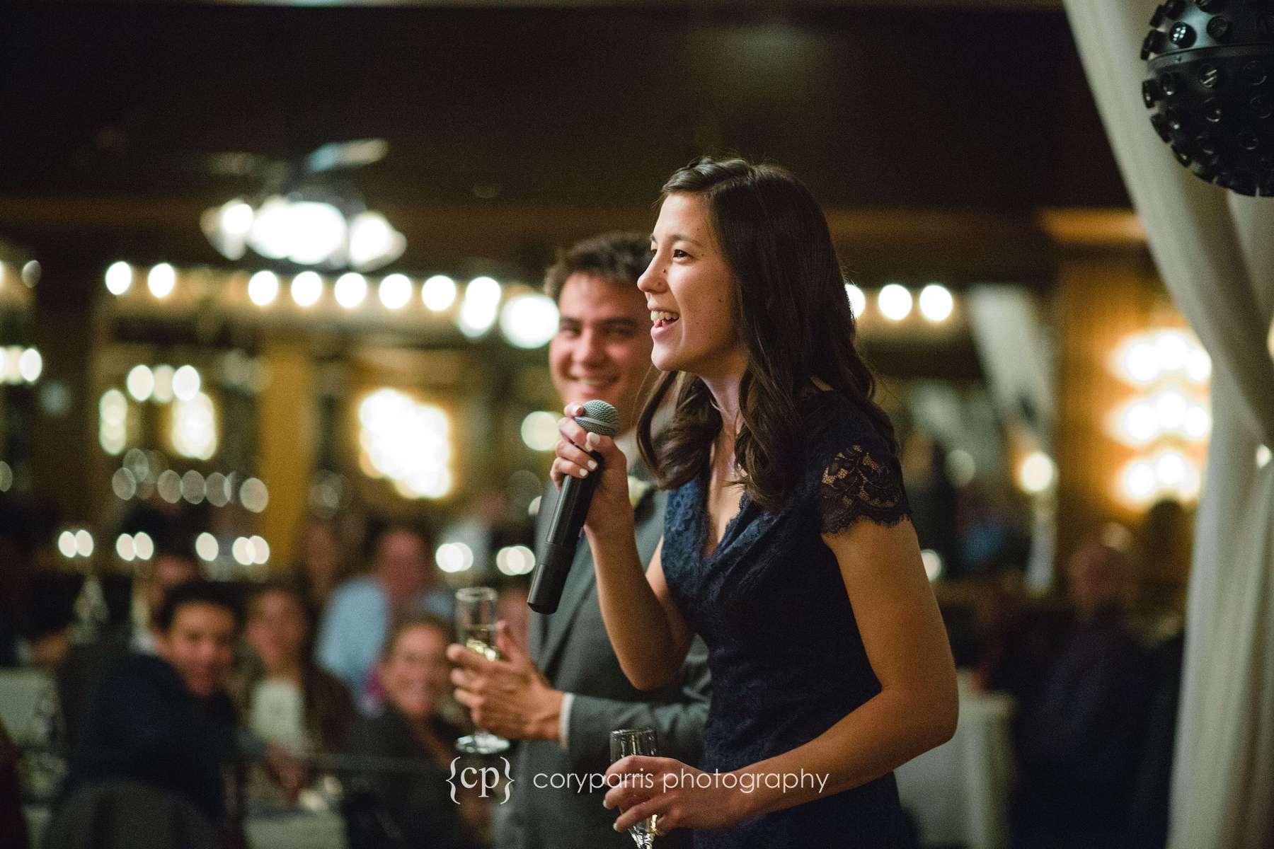 Toasts at Lake Union Cafe wedding reception