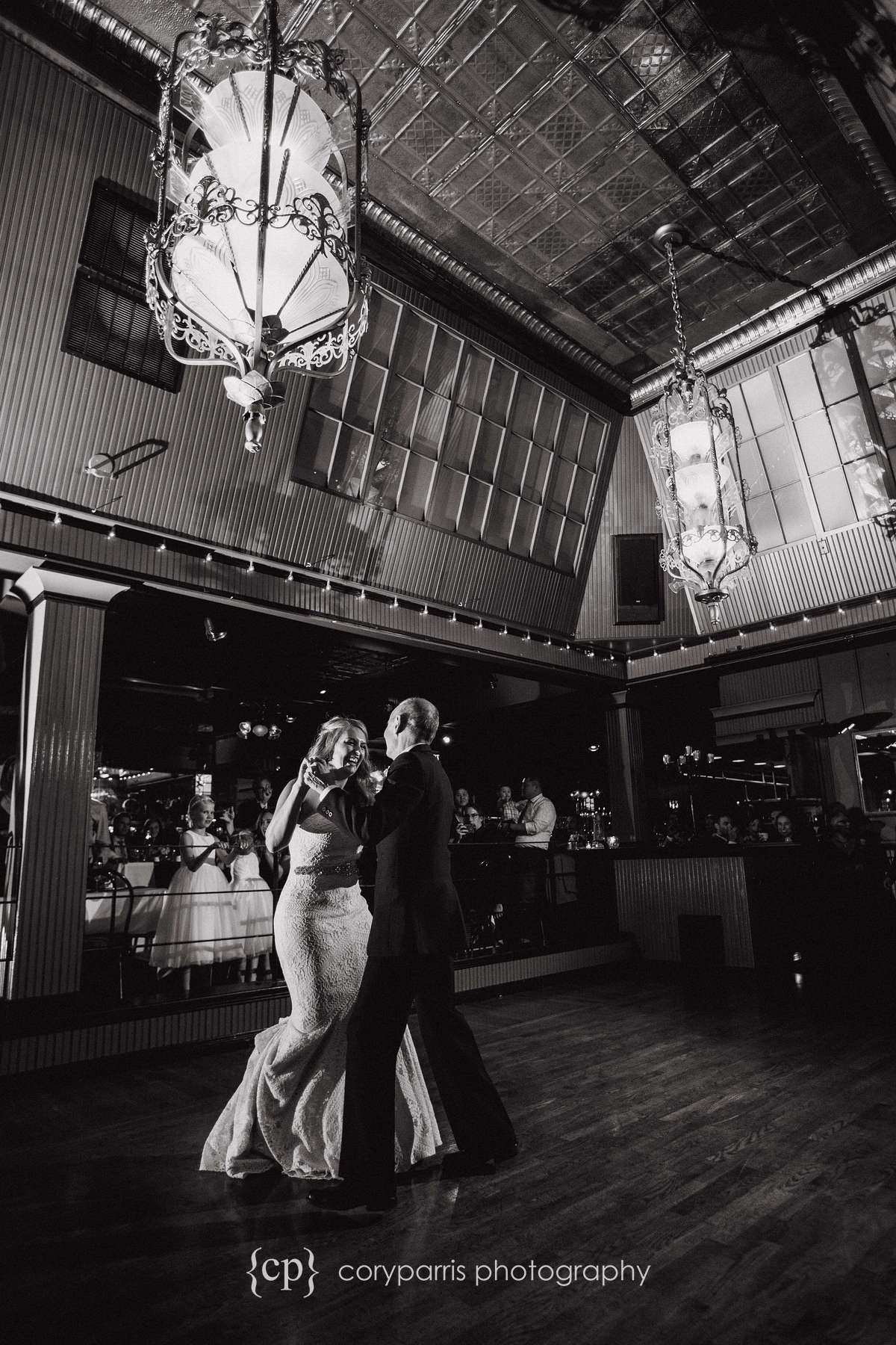 Father daughter dance at Lake Union cafe wedding