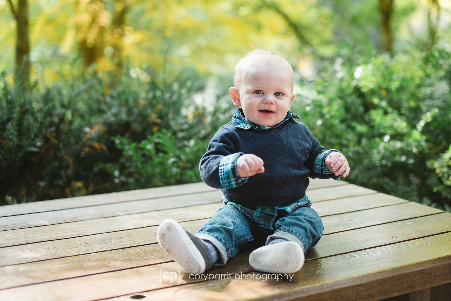 Smiling toddler baby photographer portraits in Bellevue