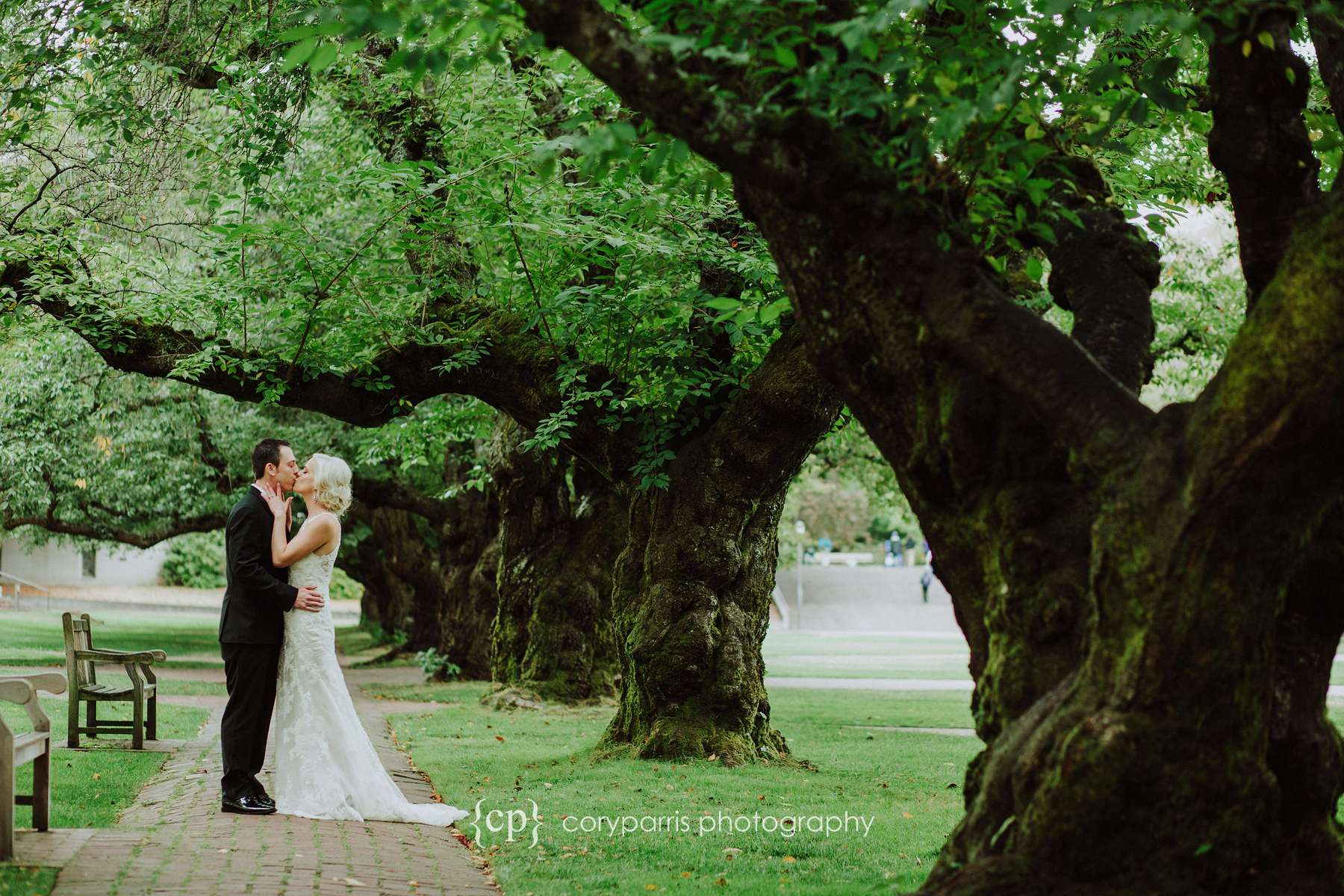 A wedding portrait at the Quad at the University of Washington in Seattle.