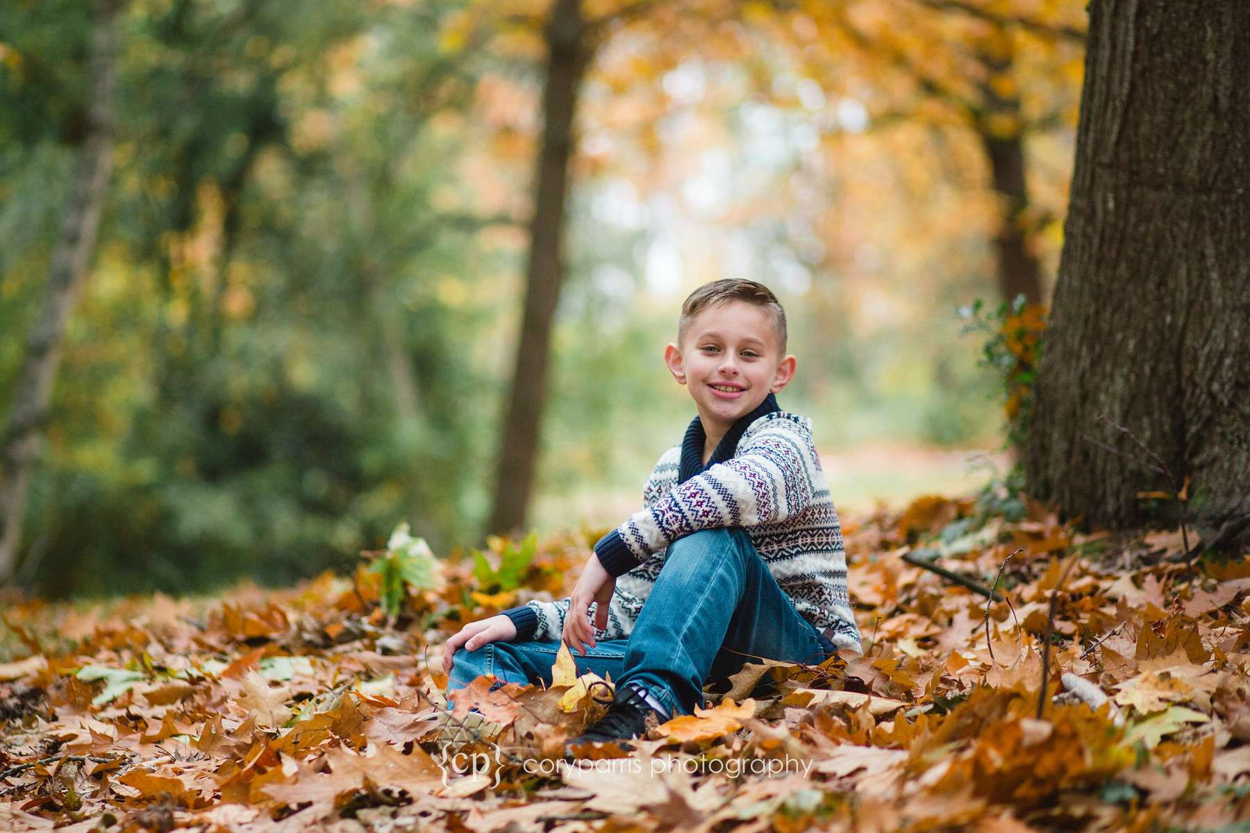 Fall leaves portrait kids photography Seattle