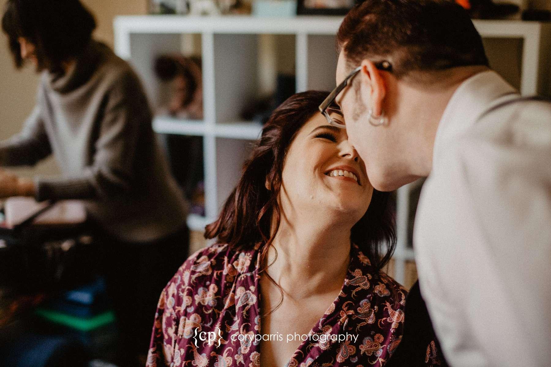 Pre-wedding kiss
