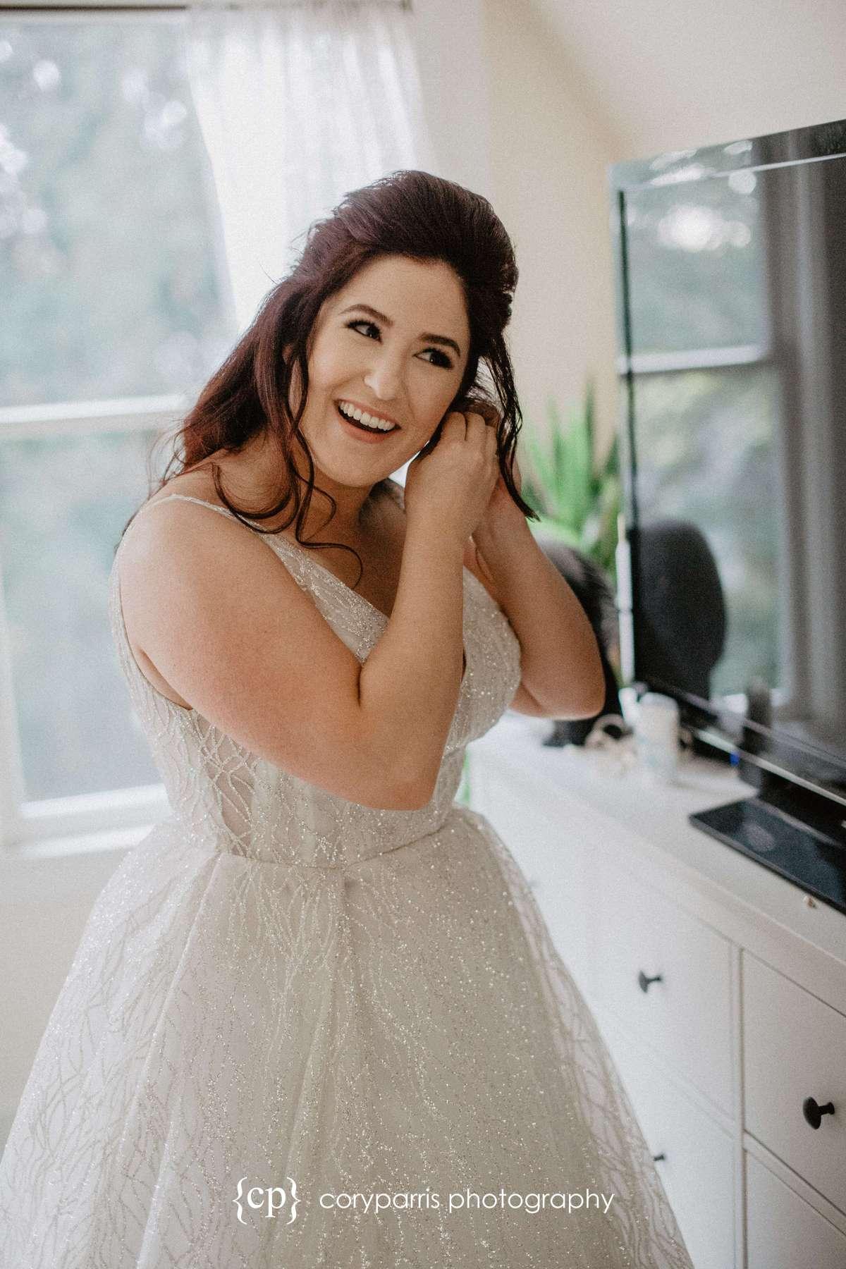Seattle wedding photojournalist bride getting ready